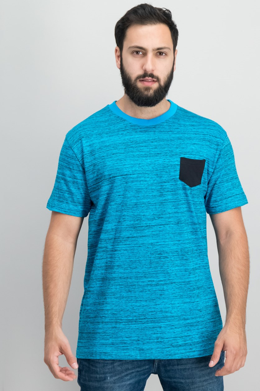 Men's Basic Melange Pocket Tee, Blue/Black