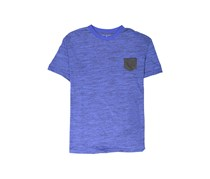 Tahari Sports Men's Basic Melange Pocket Tee, Royal/Charcoal