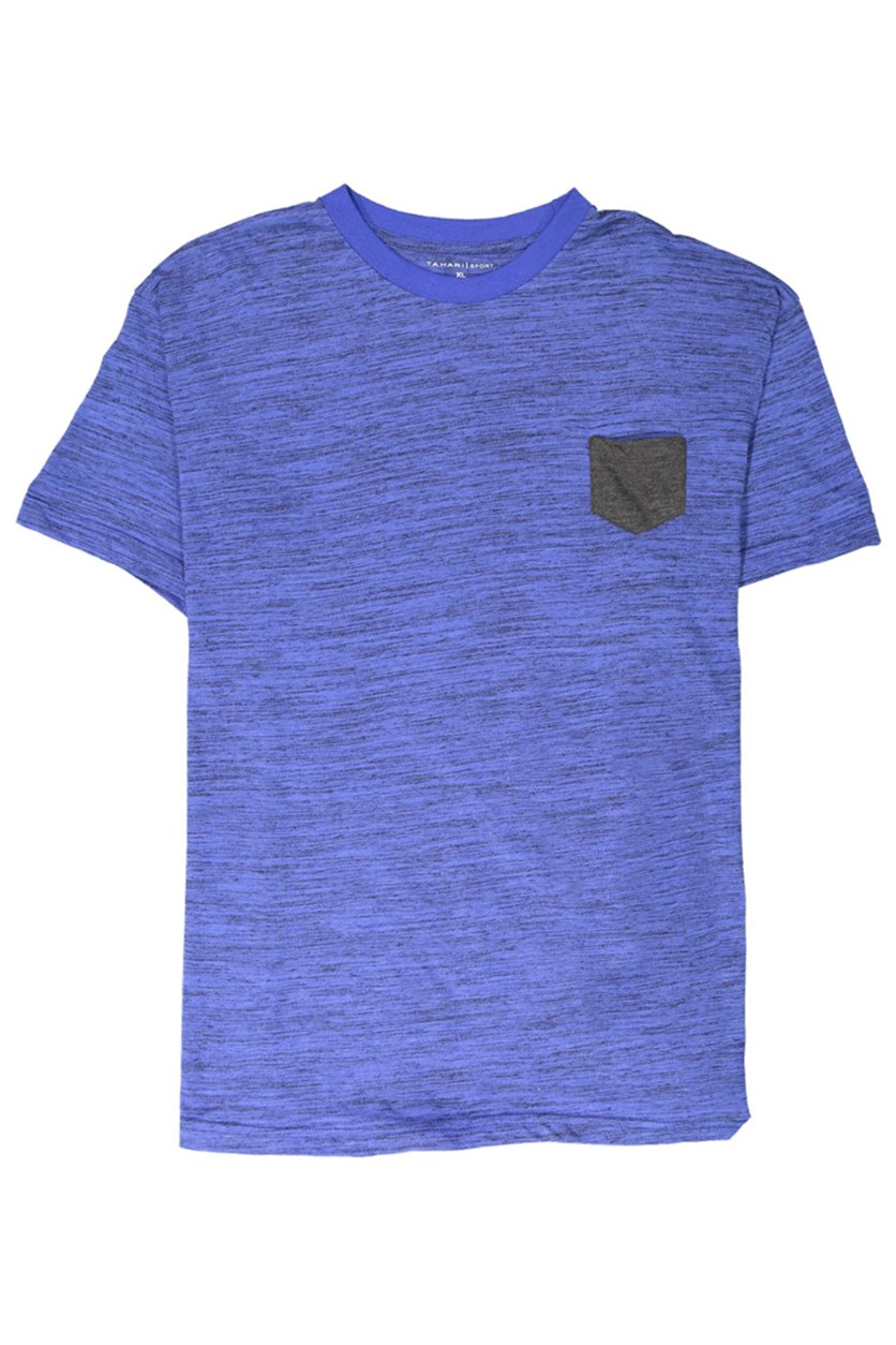 Men's Basic Melange Pocket Tee, Royal/Charcoal