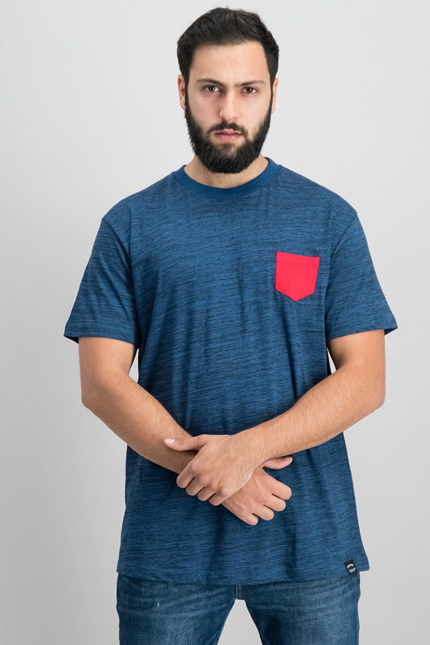 Men's Basic Melange Pocket Tee, Navy/Red