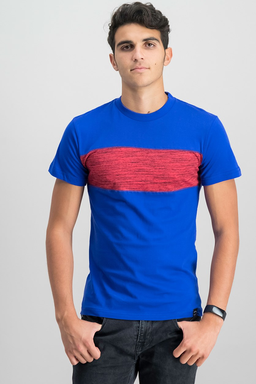 Tahari Basic Melange Tee, Royal Blue/Red