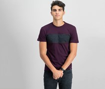 Men's Center Panel Basic Melange Tee, Burgundy/Charcoal