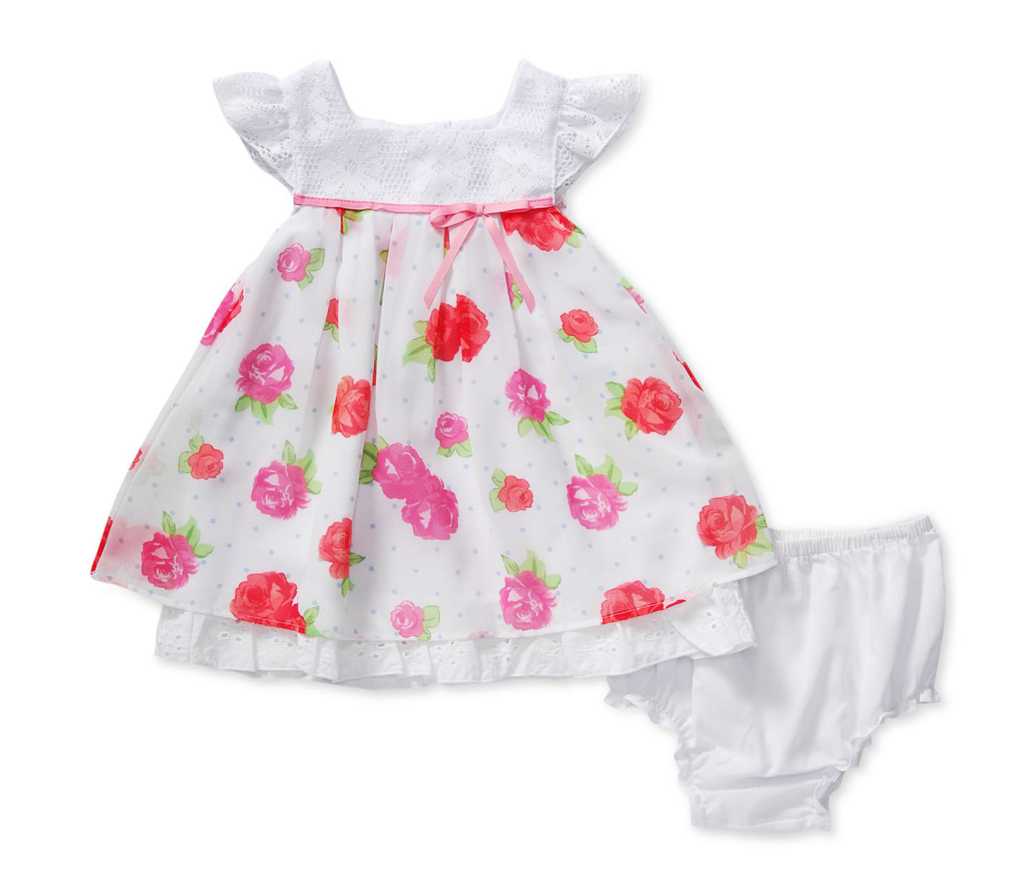 Sweet Heart Rose Baby Girls' Floral Eyelet Dress & Diaper Cover, White