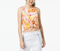 The Edit by Seventeen Juniors' Printed Knot-Front Cropped Tank Top, Orange Combo
