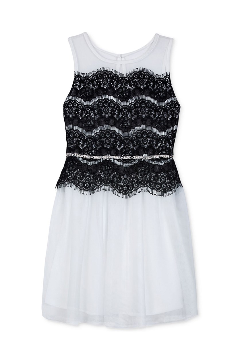 Lace Detail Party Dress, Black/White