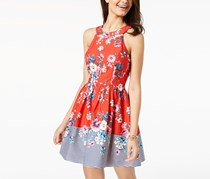 Women Juniors' Printed Lace-Up Fit & Flare Dress, Red Combo