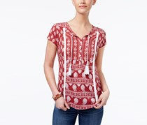 Style & Co Tasseled Peasant Top, Patriot Rich Amore