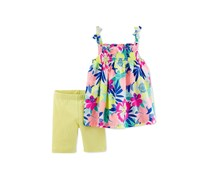Carters 2-Pc. Floral-Print Cotton Tank Short, Neon Green Combo