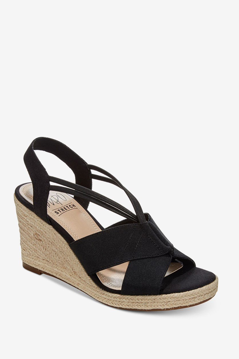 Tegan Espadrille Wedge Sandals, Black