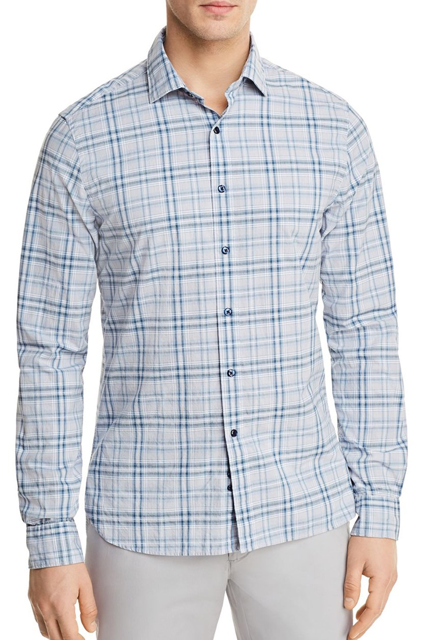 Men's Plaid Long Sleeve Button-Down Shirt, Blue