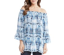 Karen Kane Women's Printed Off-The-Shoulder Blouse, Blue/Whie