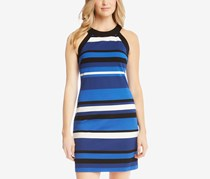 Karen Kane Striped Halter Dress, Blue/Black/White