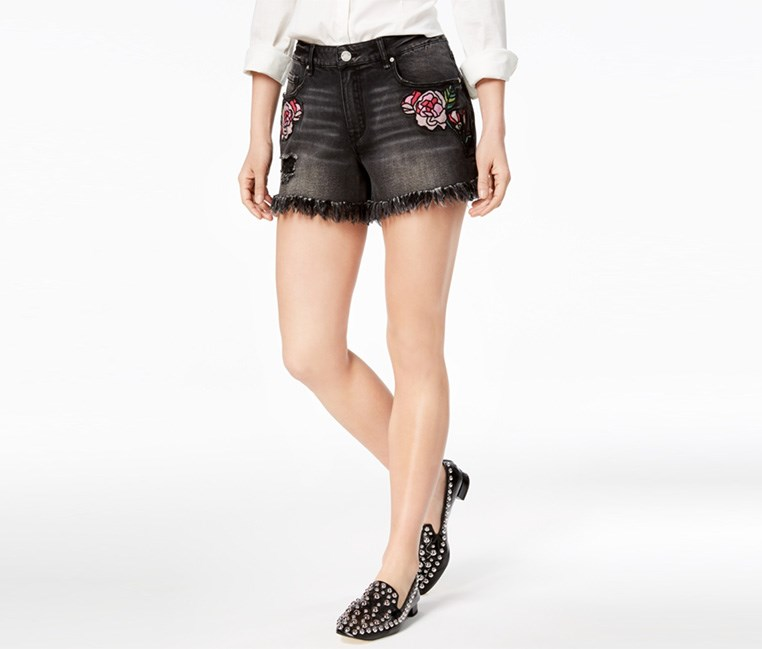 Perfect Embroidered Denim Short, Charcoal Muse