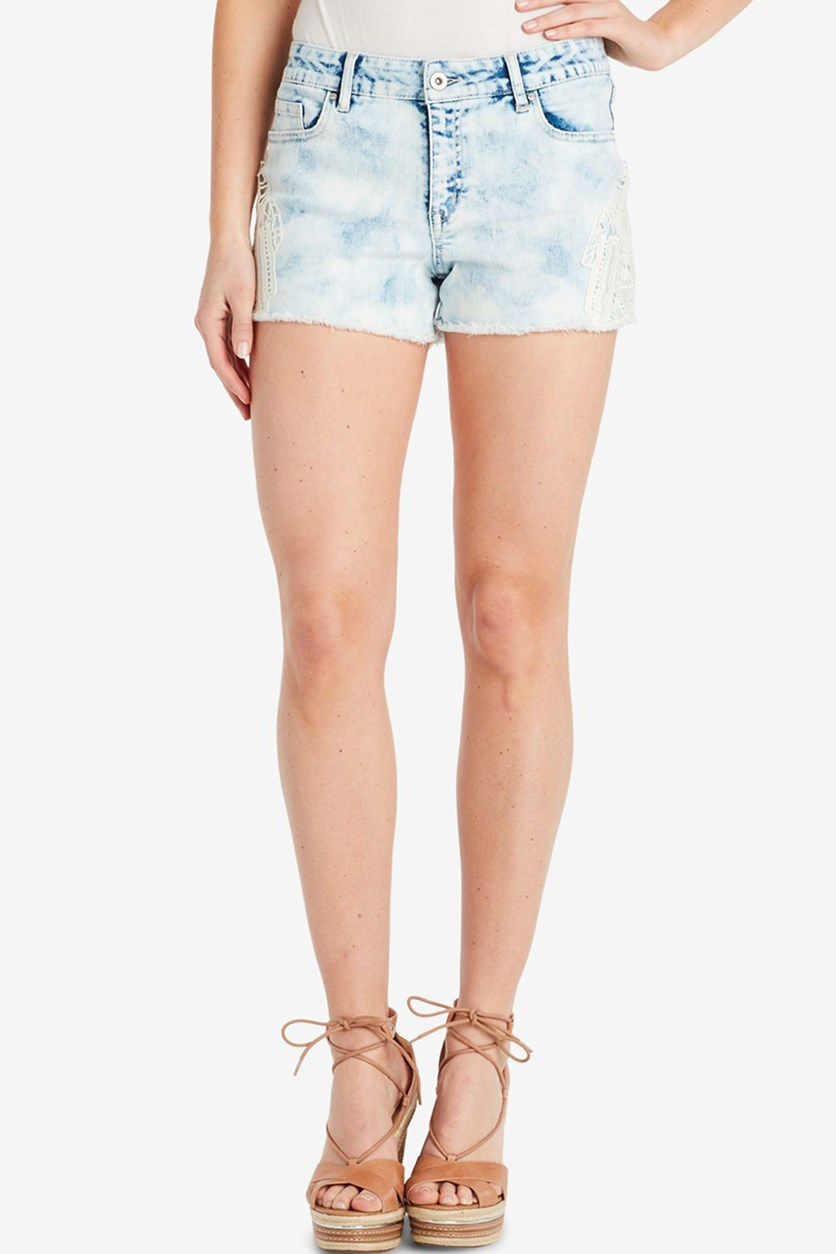 Juniors' Cherish Lace-Applique Denim Shorts, Coleman