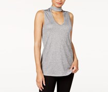Bar III Choker-Neck Top, Heather Grey