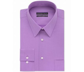 Geoffrey Beene Men's Long Sleeve Fitted Dress Shirt, Purple