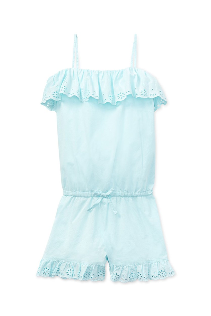 Big Girls Ruffled Cotton Romper, Turquoise