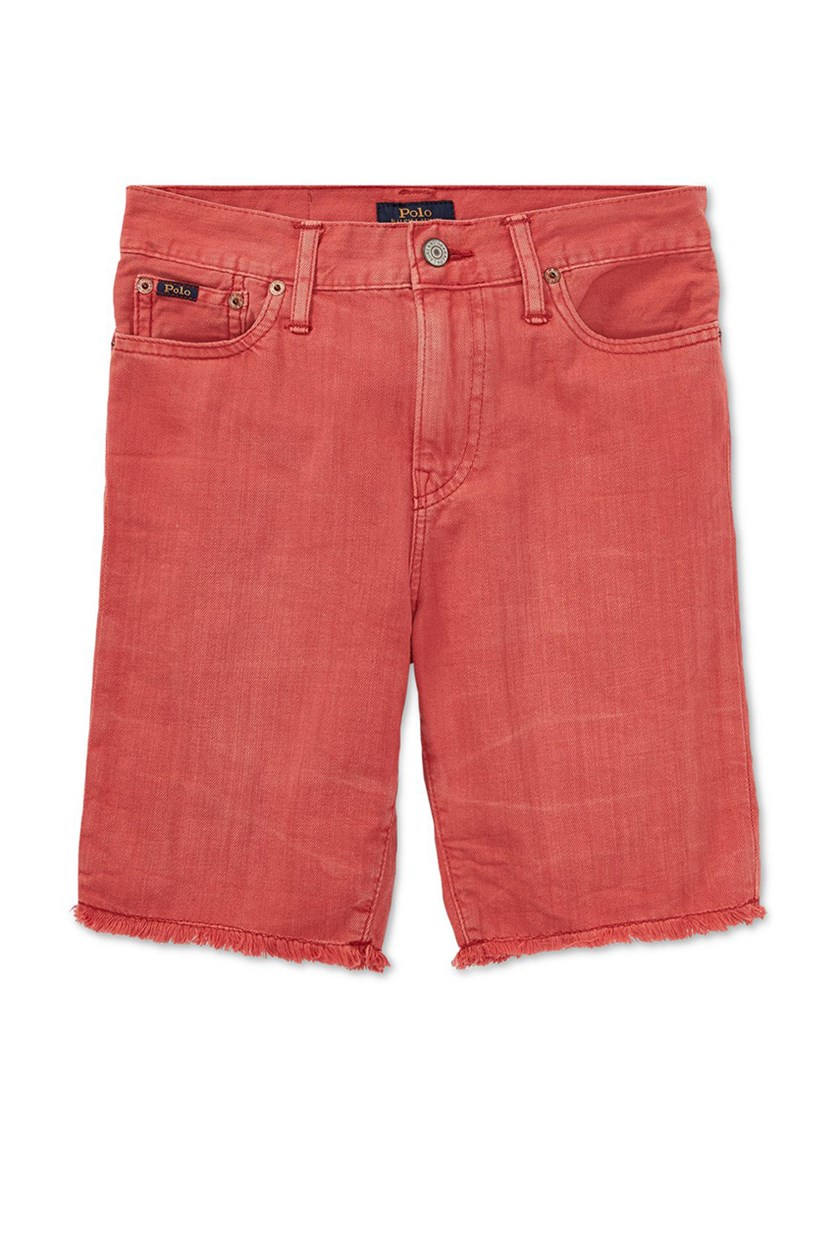 Kids Cotton Denim Cutoff Shorts, Finn Wash Red