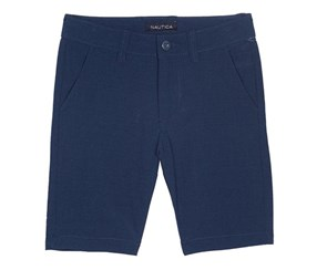 Nautica Boy's Big Solid Flat Front Short, Navy Blue