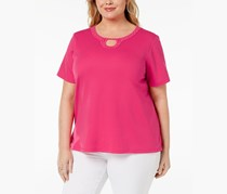 Alfred Dunner Plus Size Embellished-Neck Top, Peony
