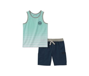 Calvin Klein Baby Boys 2-Pc. Graphic-Print Tank Top & Shorts Set,  Turq/Navy