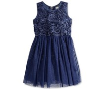 BTween Girl's Soutache Metallic-Stripe Dress, Navy