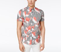 Calvin Klein Men's Classic-Fit Floral Print Shirt, Grey