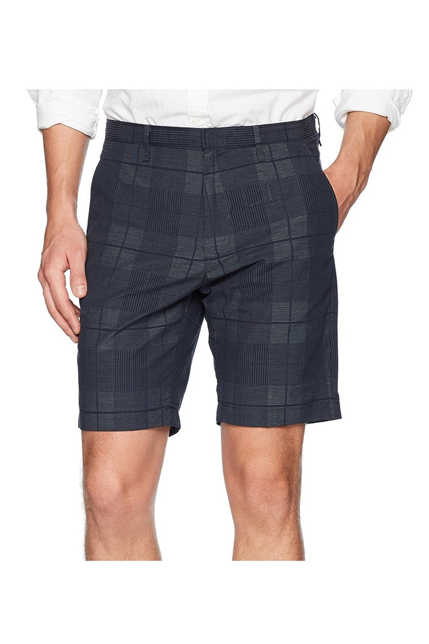 Mens Plaid Dobby 9 Shorts, Navy Combo