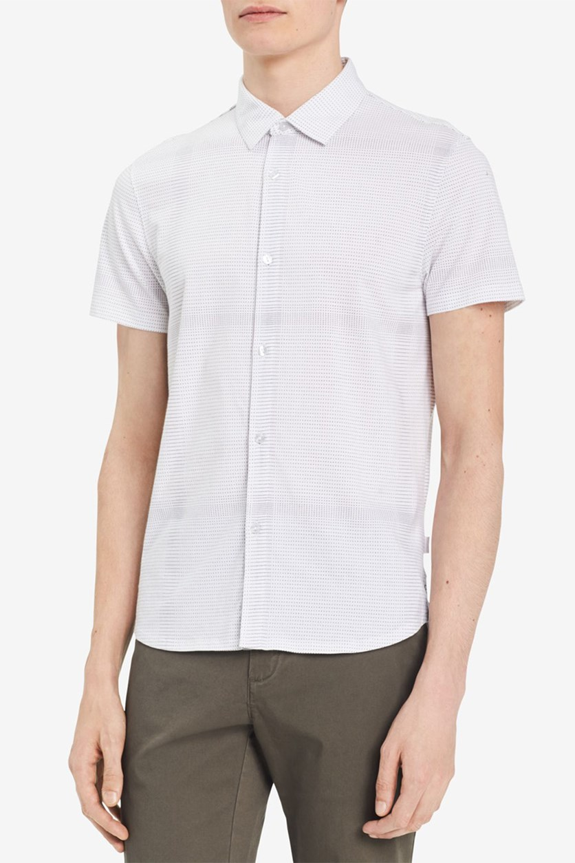 Men's Block Checked Shirt, White