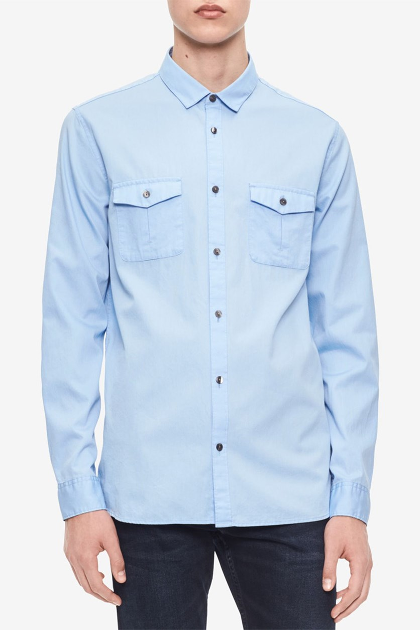 Men's Washed Bedford Shirt, Clear Sky