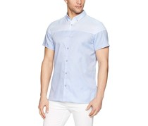 Calvin Klein Mens Printed Striped Shirt, Clear Sky