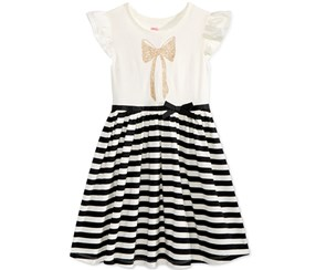 Epic Threads Girl's Bow-Print Striped Dress, White/Black