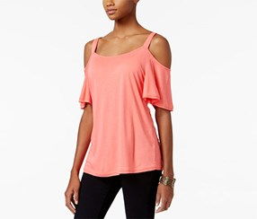 Calvin Klein Jeans Ruffled Cold-Shoulder T-Shirt, Pink