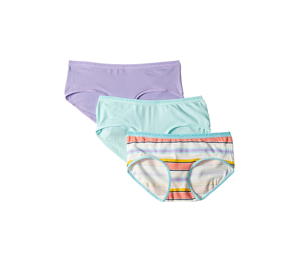 Kids-Multi Stripe 3-Pack Hipster, Turquoise/Purple/White