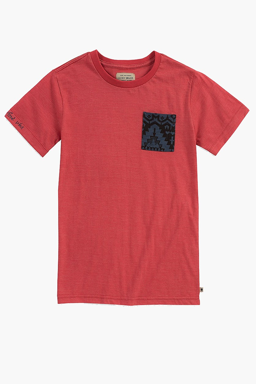 Spaced Dye Pocket Tee, Cardinal Red