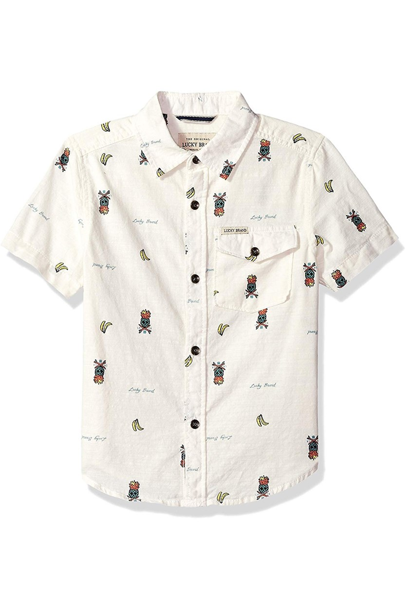 Toddler's' Short Sleeve Button Down Shirt, Marshmellow
