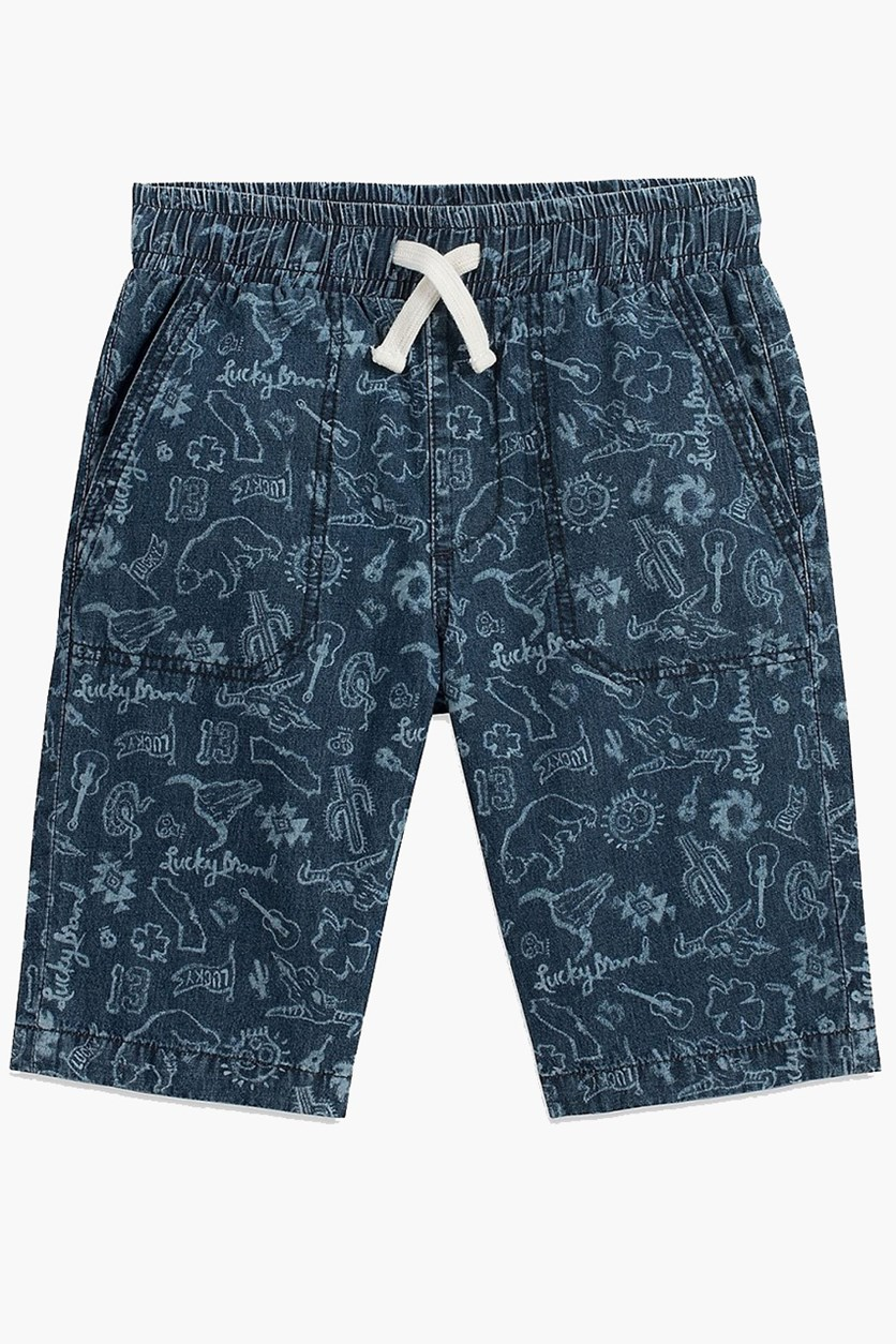Boy's Printed Drawstring Short, Blue Wash