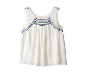 Roxy Girl's Embroidered Dotty Folk Tank, Off White