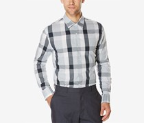 Perry Ellis Men's End-On-End Plaid Long-Sleeve Shirt, Blue/Grey Combo
