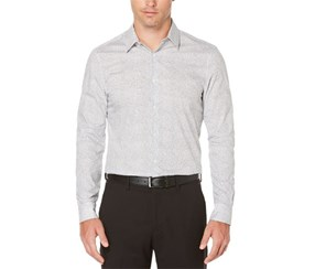 Perry Ellis Men's Printed Long Sleeves Button-Down Shirt, White