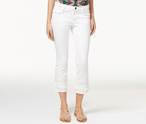 Weekend Max Mara Women's Beira Fringe-Trim Cropped Jeans, White