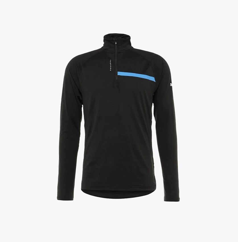 Ignite Half Zip Sports Shirt, Black/Strong Blue