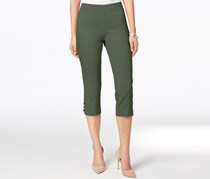 Jm Collection Petite Lattice-Hem Capri Pants, Olive Spring