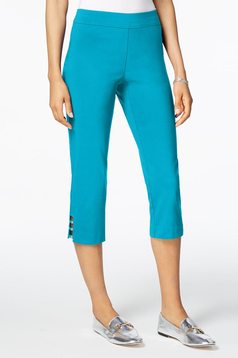 Pull-On Lattice-Inset Capri Pants, Reef Aqua