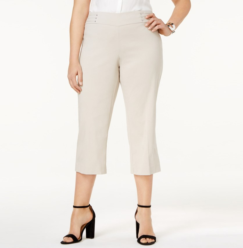 Plus Size Pull-On Cropped Pants, Stonewall
