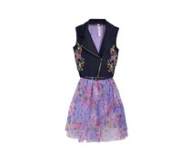 Beautees 2-Pieces  Moto Vest & Floral-Print Dress Set, Navy/Purple