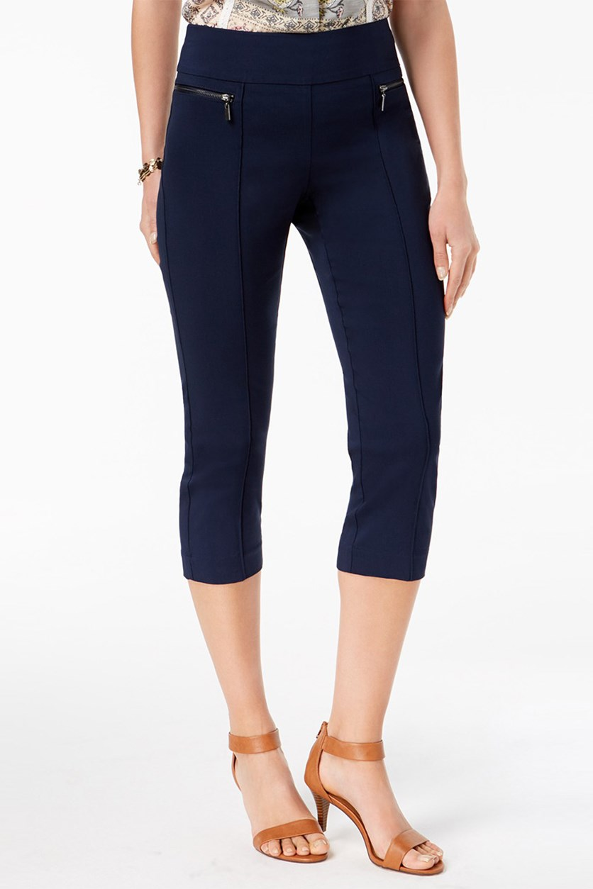. Pull-On Cropped Pants, Industrial Blue
