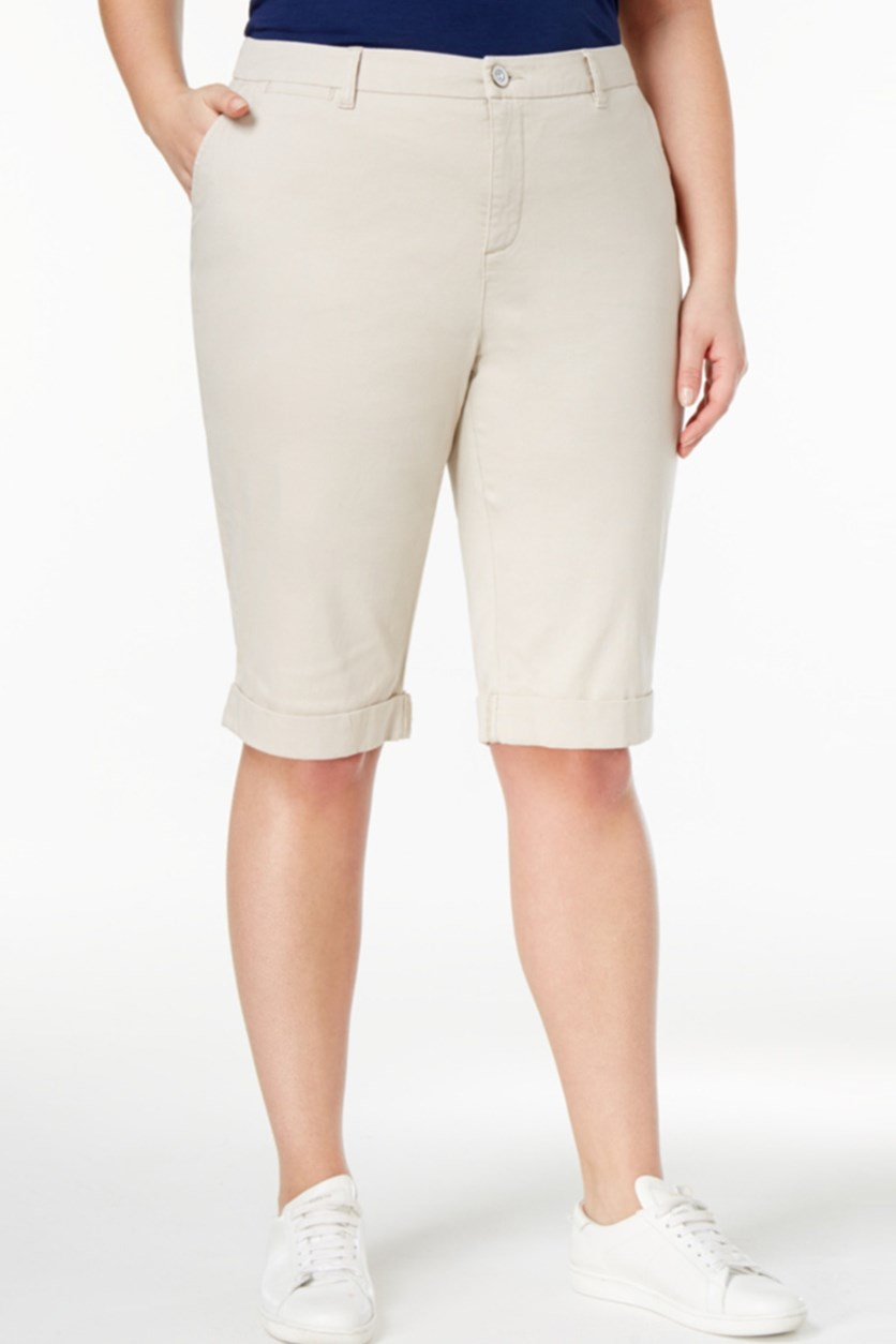 Plus Size Cuffed Bermuda Short, Stonewall