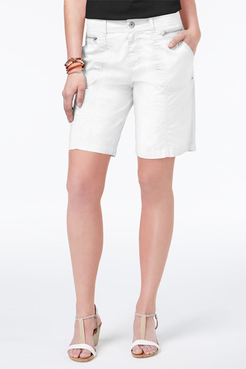 . Womens Zip Pocket Mid Rise Cargo Shorts, Bright White