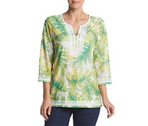 Alfred Dunner Women's Petite Tropical Texture Tunic Knit Top, Green/Yellow